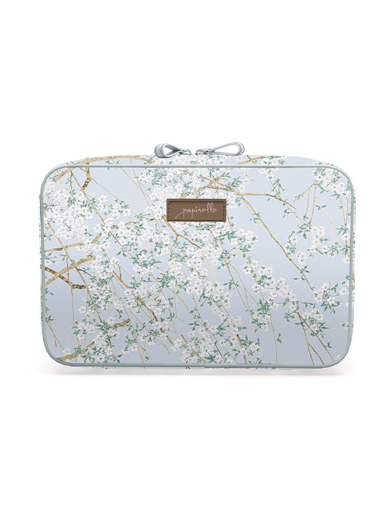 Cherry Blossom Blue Large Fold Out Cosmetic bag