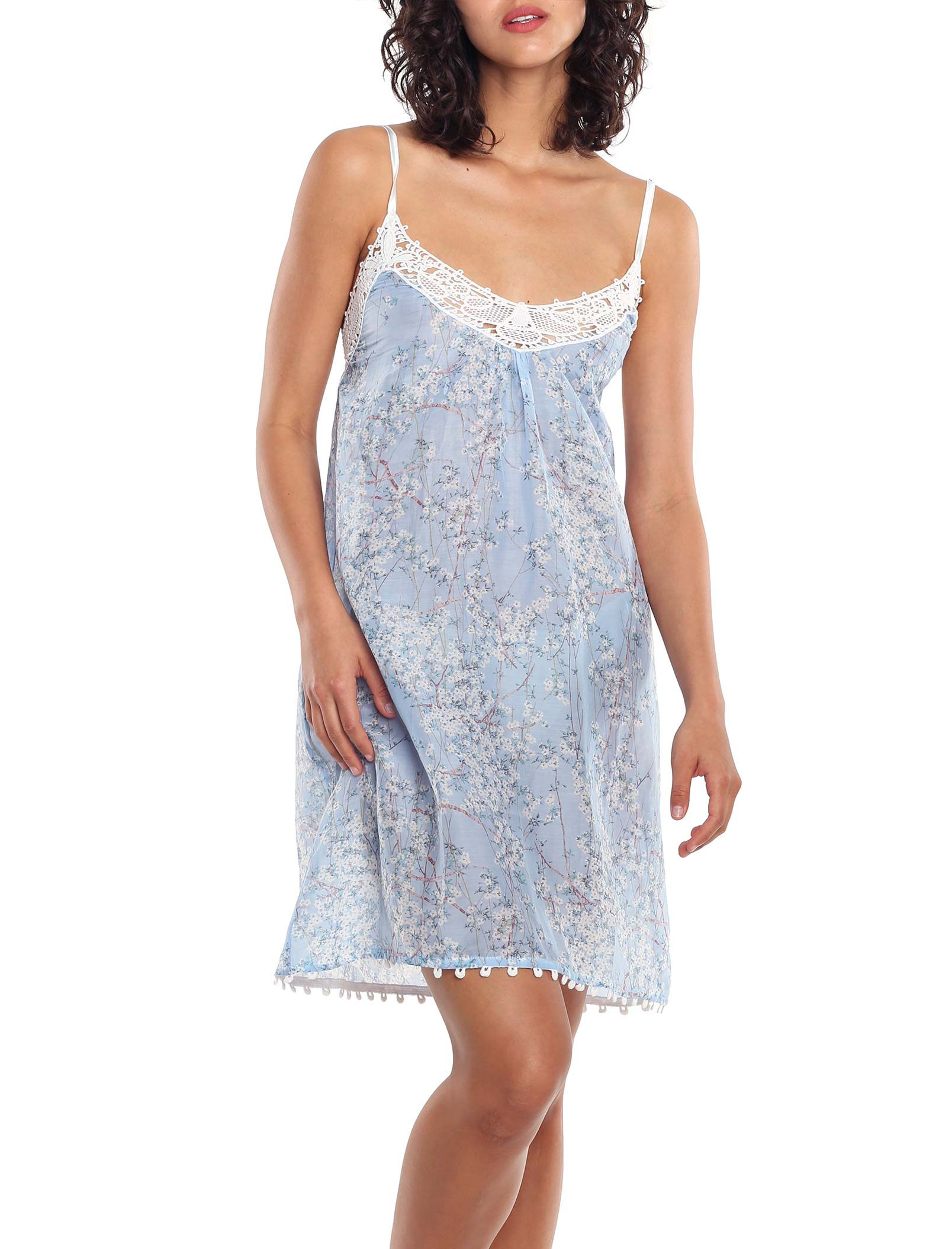 Cherry Blossom Indigo Blue Lace Front Nightgown