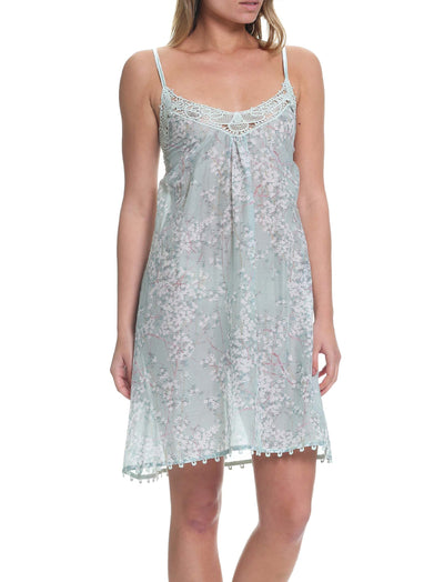 Cherry Blossom Sage Lace Front Nightgown