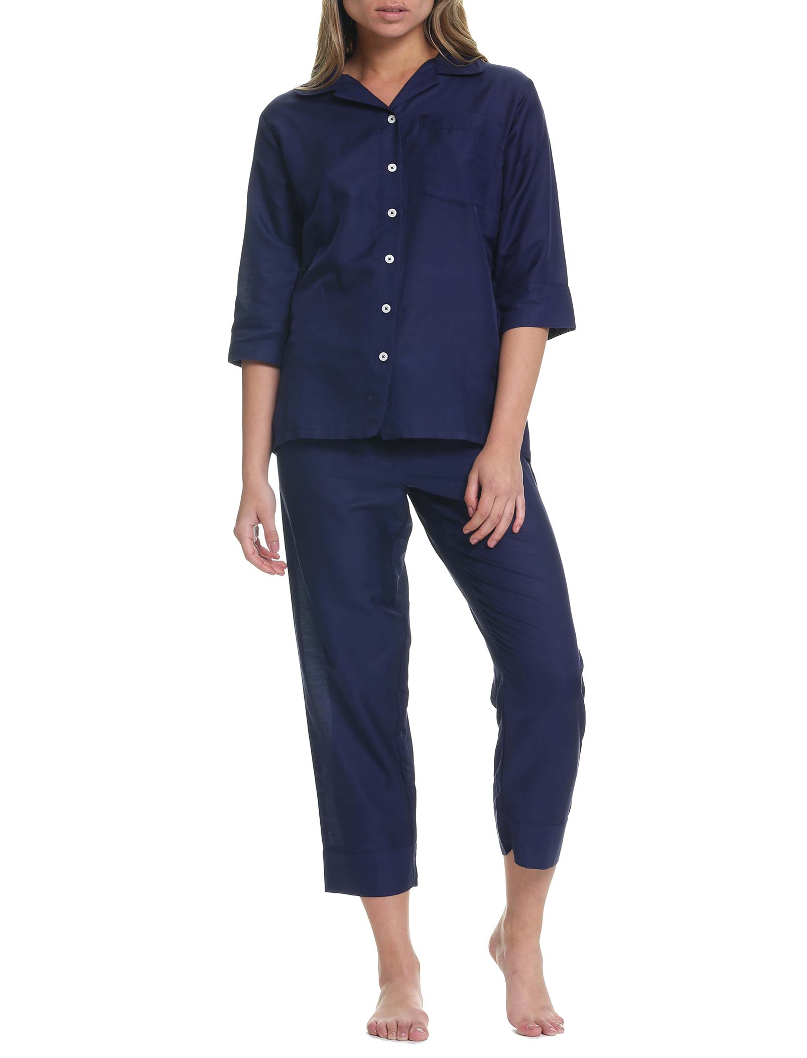 Classic Crop Pajama in Navy