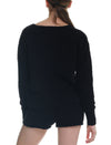 Cozy Knit V-Neck Crop Jumper in Black