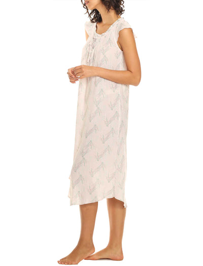 Falling Blossom Pink Maxi Flutter Nightgown