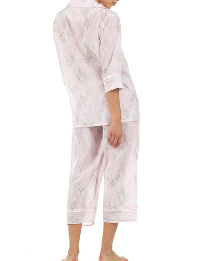 Falling Blossom Floral Cotton Silk Pajamas Back