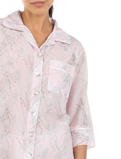 Falling Blossom Floral Cotton Silk Pajamas Detail