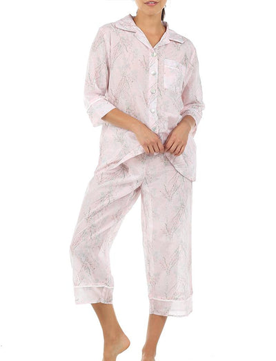 Falling Blossom Floral Cotton Silk Pajamas