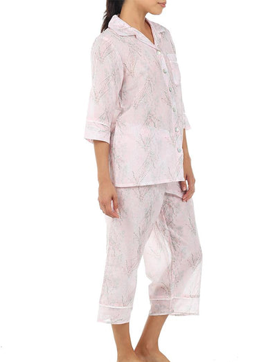 Falling Blossom Floral Cotton Silk Luxury Pajamas Side