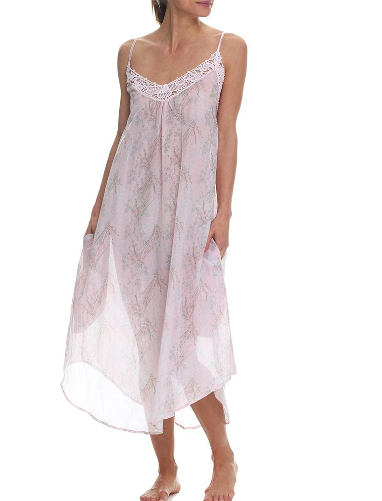Falling Blossom Pink Silk Cotton Maxi Nightgown