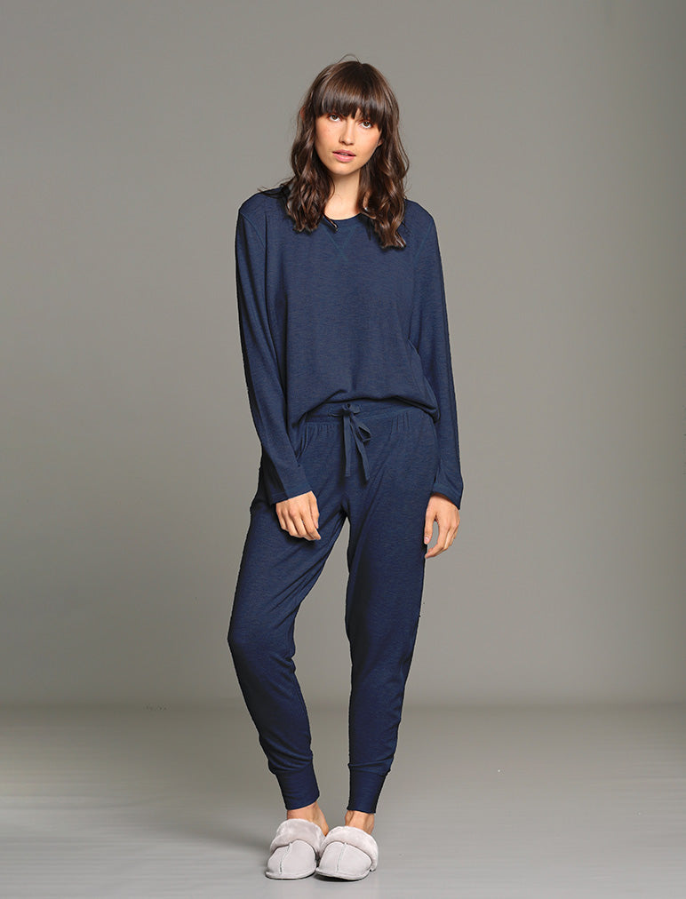 Feather Soft Long Sleeve Top in Navy