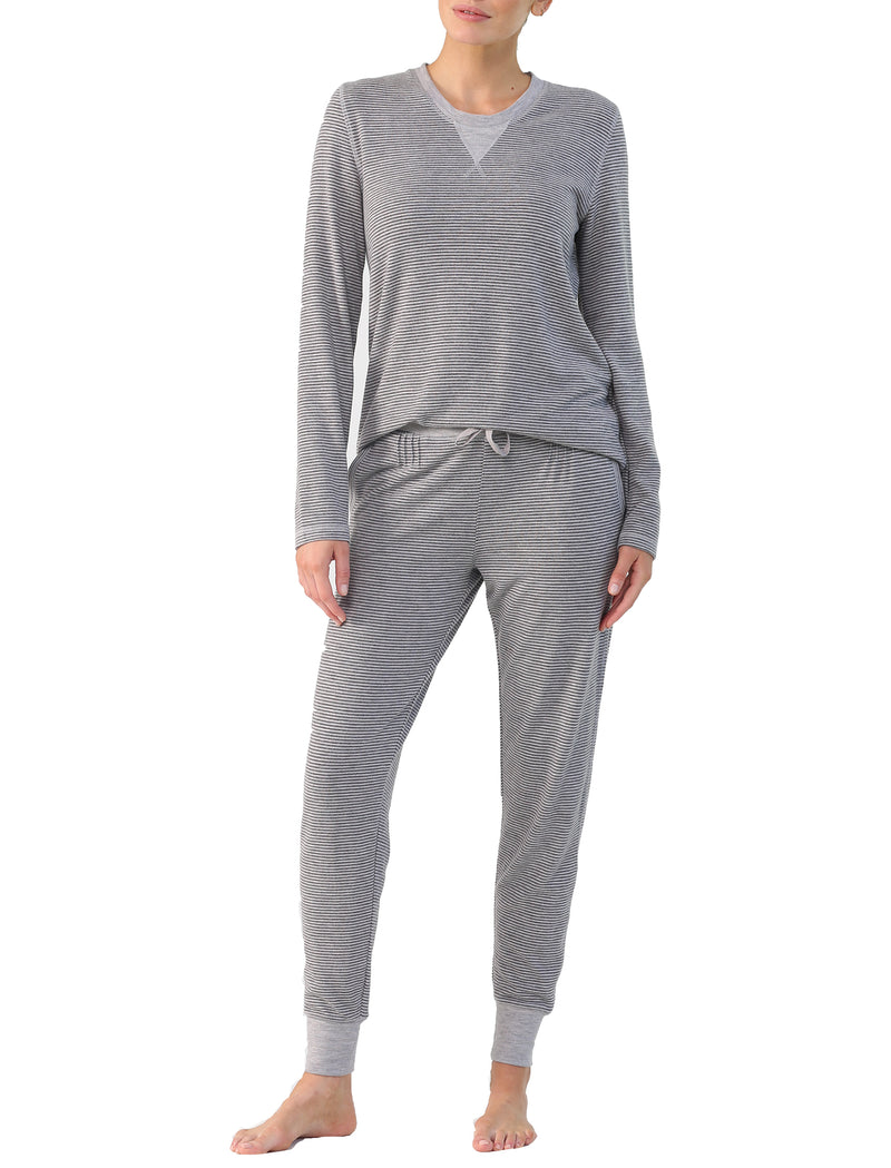 Feather Soft Stripe LS Top and Jogger Set in Grey Stripe