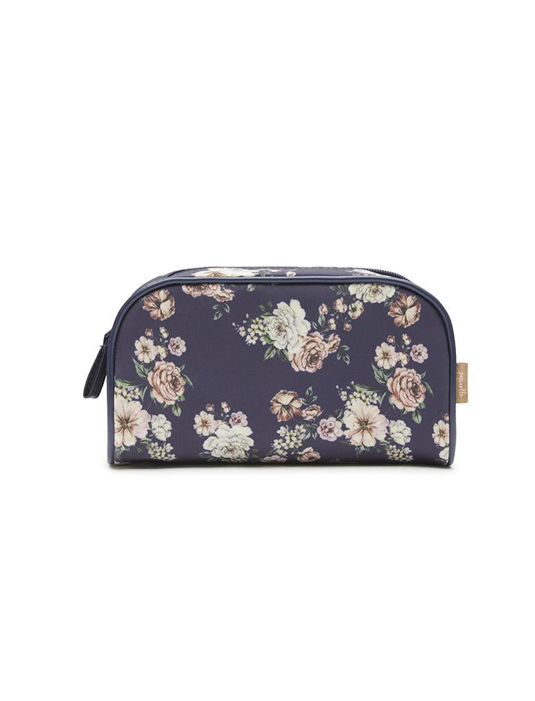 Fleur Navy Small Cosmetic Bag