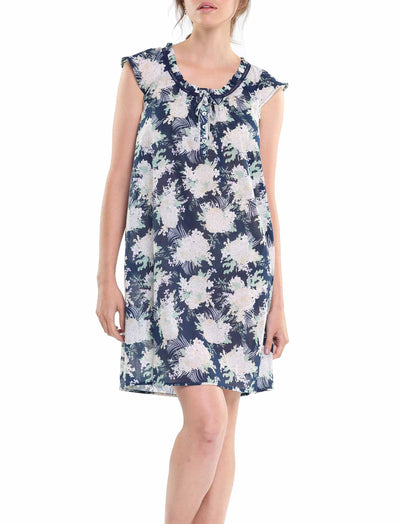 Gess Navy Pure Cotton Flutter Nightgown