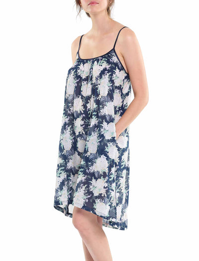 Gess Navy Pure Cotton Strappy Nightgown