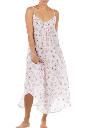 Iggy Pink Lace Front Maxi Nightgown