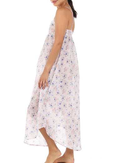 Iggy Pink Floral Lace Front Maxi Nightgown