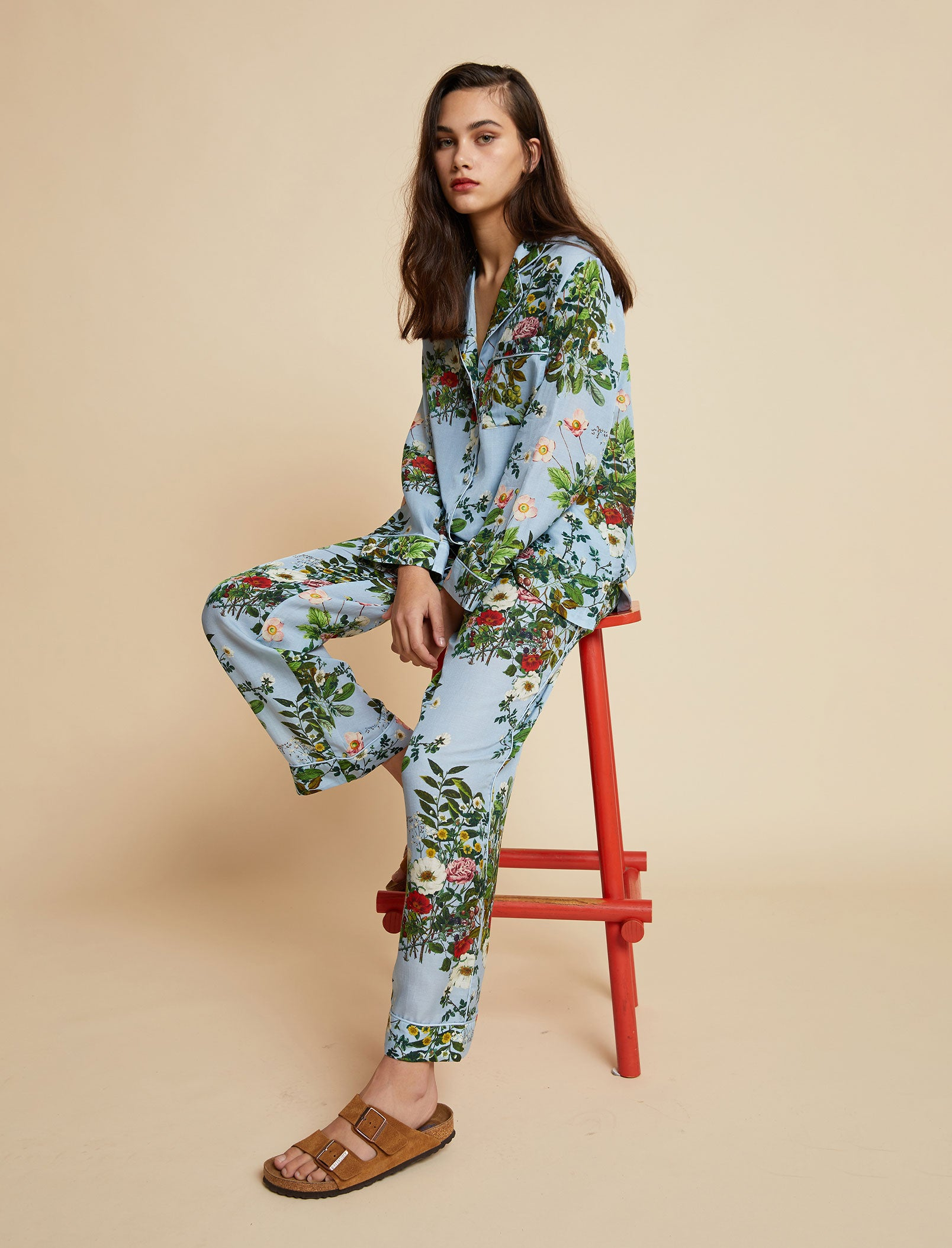 Karen Walker Love Letter Blue Floral Full Pajama Set