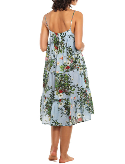 Karen Walker Love Letter Blue Floral Tiered Nightgown