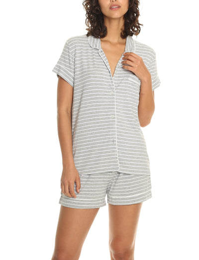 Modal Soft Kate Boxer Pajama Set in Grey Stripe