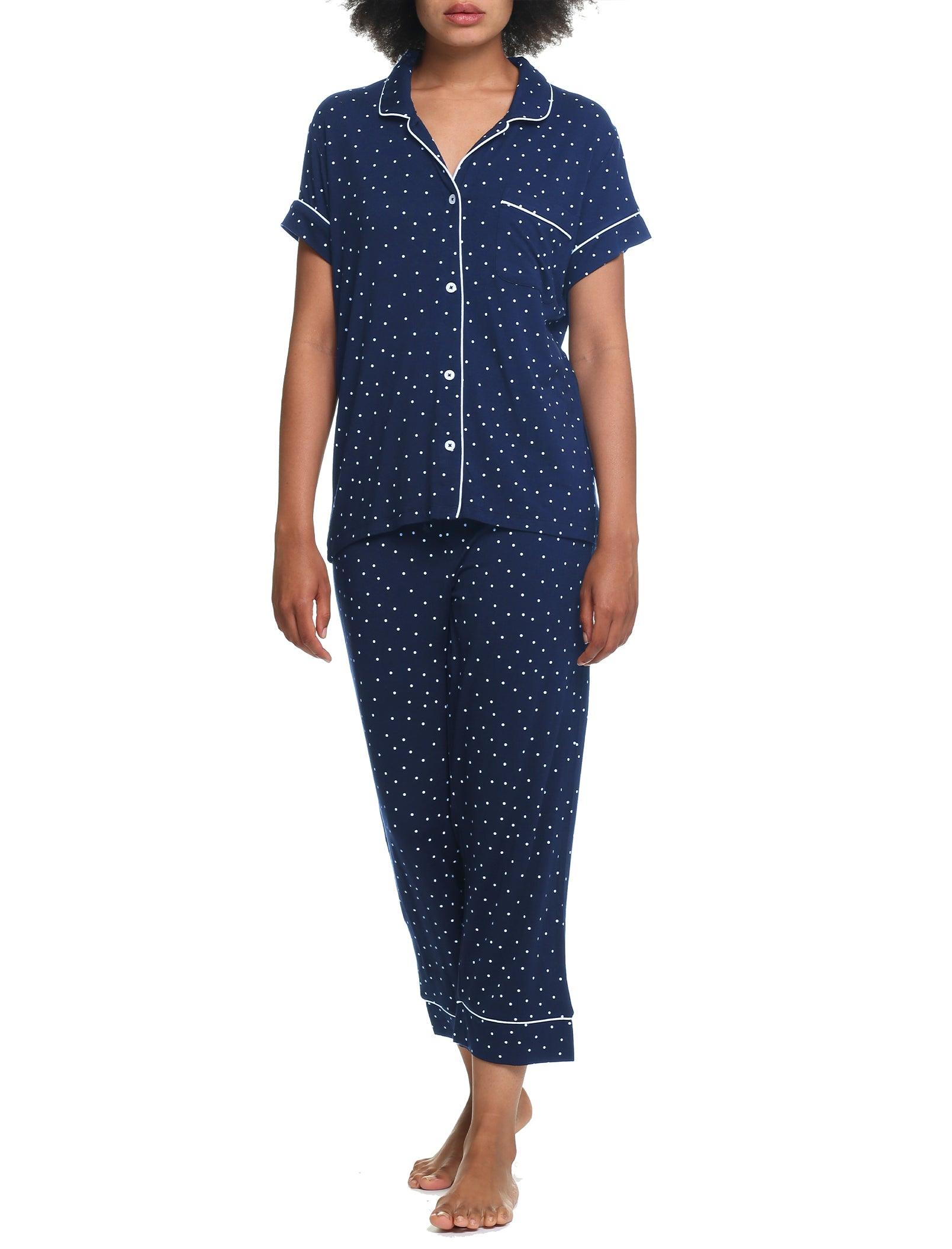 Modal Kate Navy Spot Crop Pajama Set