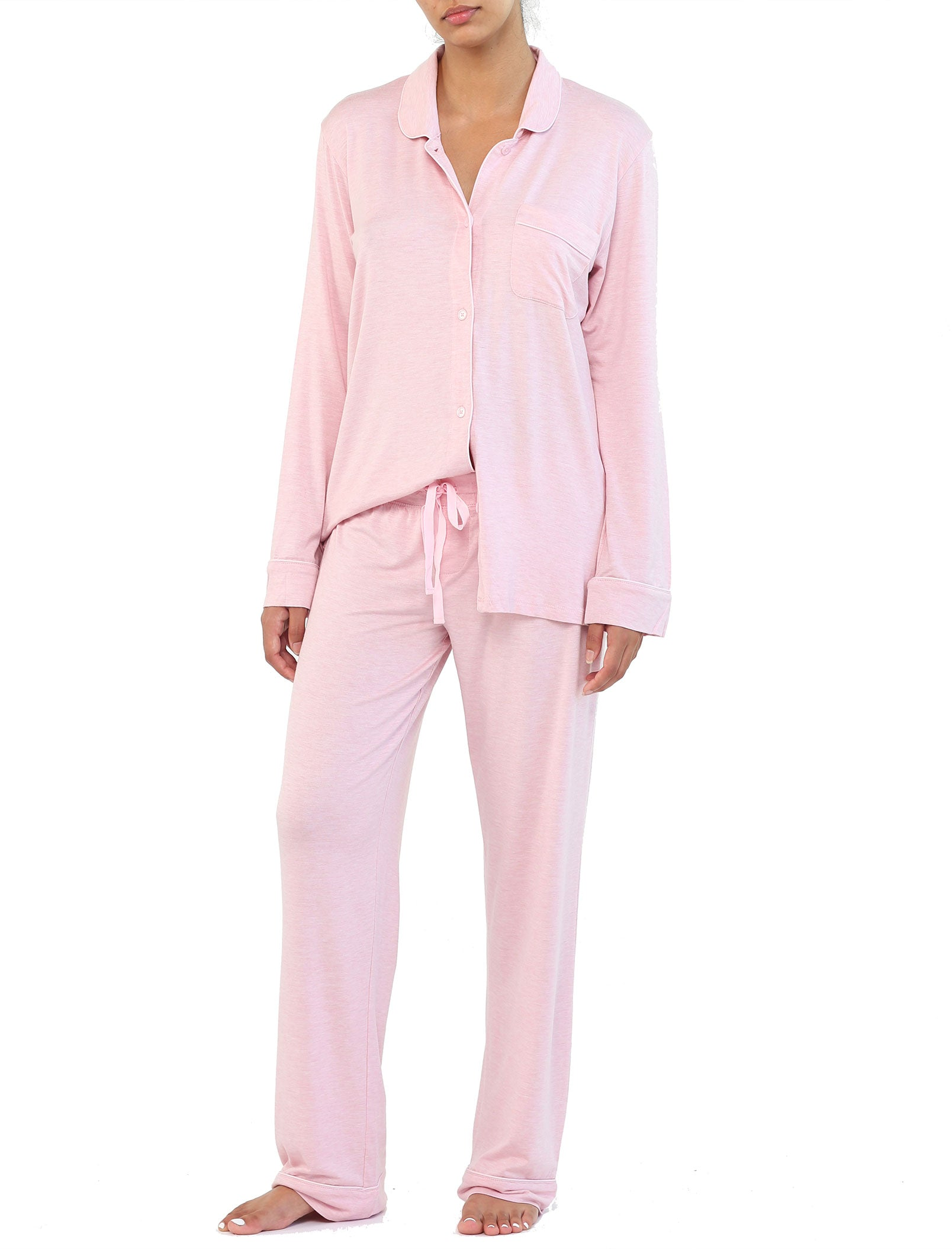 Modal Soft Kate Pajama Set in Ruby Melange
