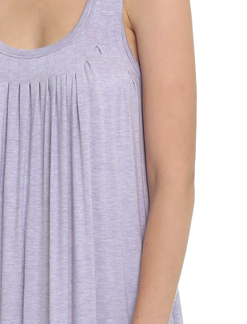 Modal Soft Pleat Front Nightgown in Lilac