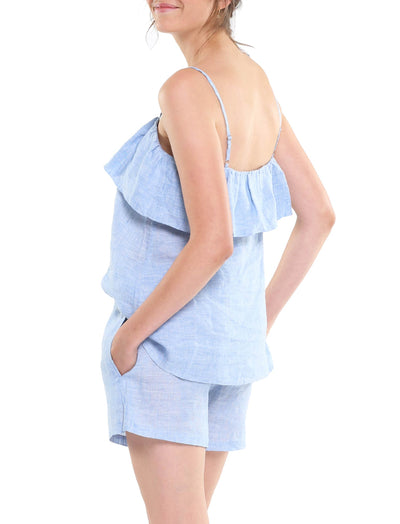 Resort Linen Frill Camisole in Vintage Blue