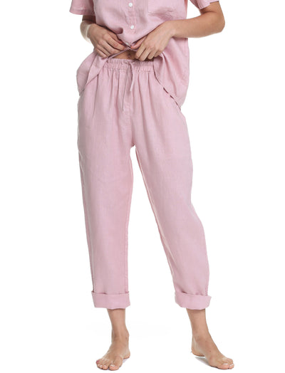 Resort Linen Pant in Powder Pink