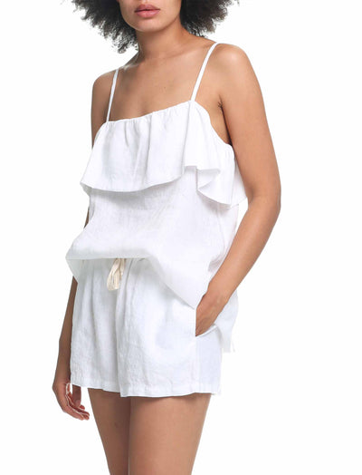 Resort Linen Frill Camisole in White