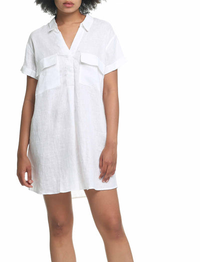 Resort Linen Nightshirt in White