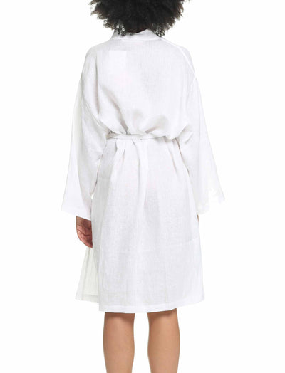 Pure Linen Luxury Robe White Back