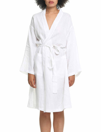 Pure Linen Robe White