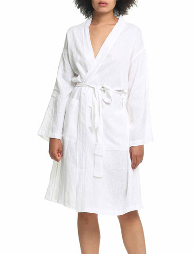 Pure Linen Luxury Robe White