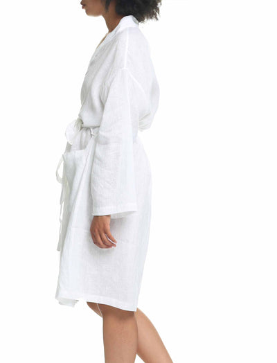Pure Linen Luxury Robe White Side