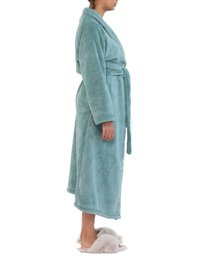 Long Plush Robe in Deep Teal