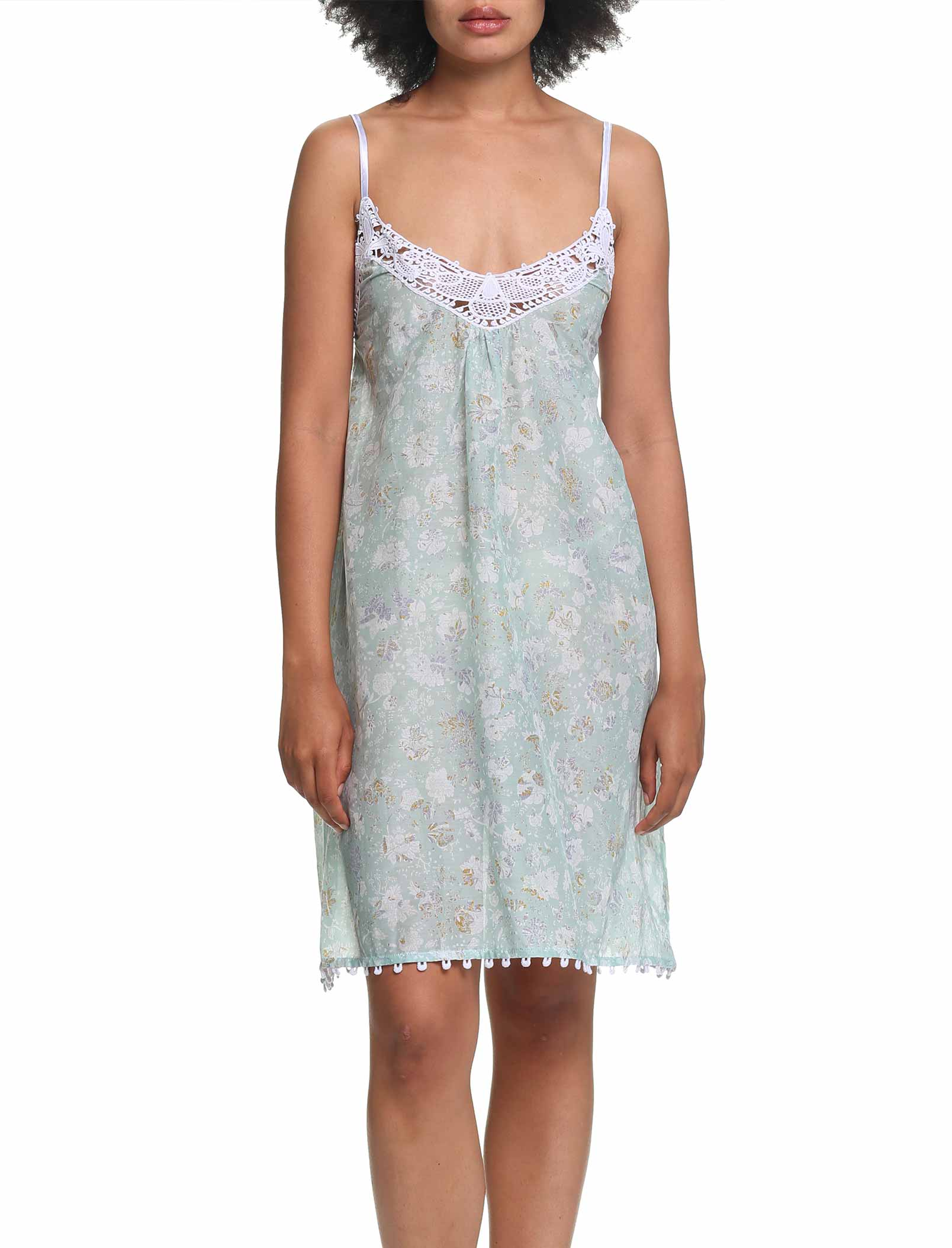 Louis Mint Lace Front Nightgown