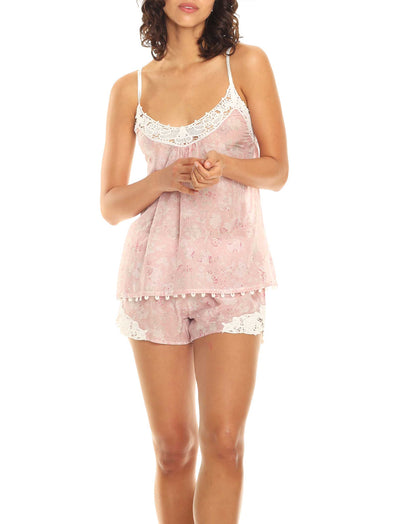 Louis Pink Lace Front Cami and Boxer Set