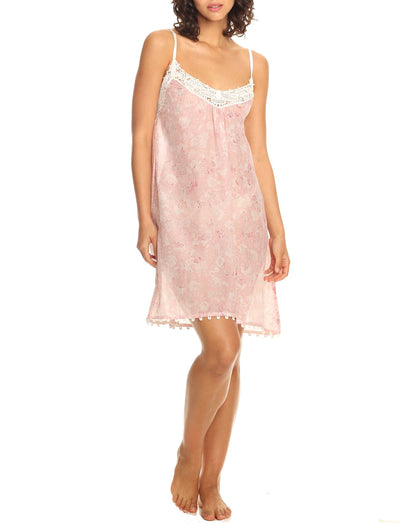 Louis Pink Short Lace Front Nightgown