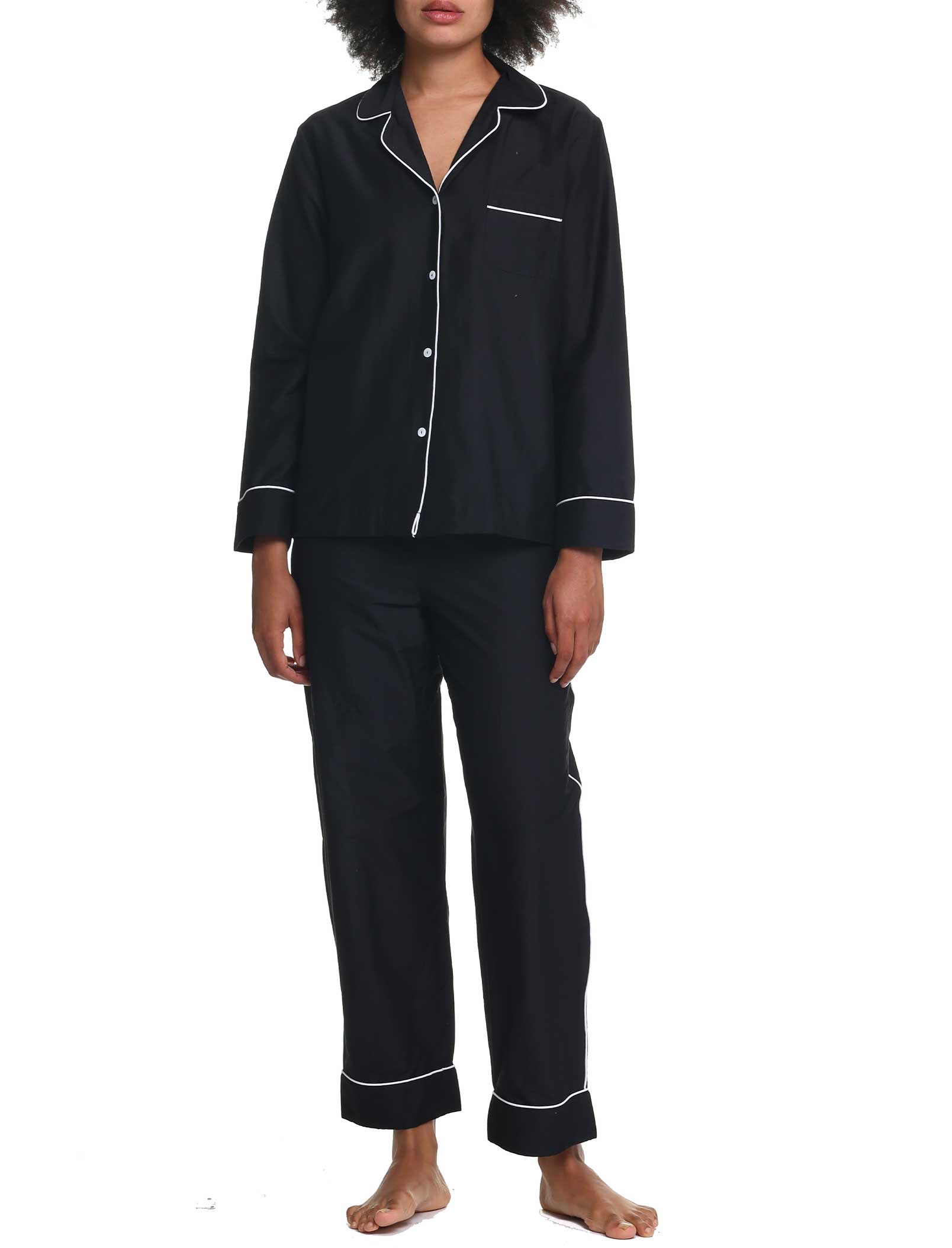 Mia Black Piped Silk Cotton Pajamas