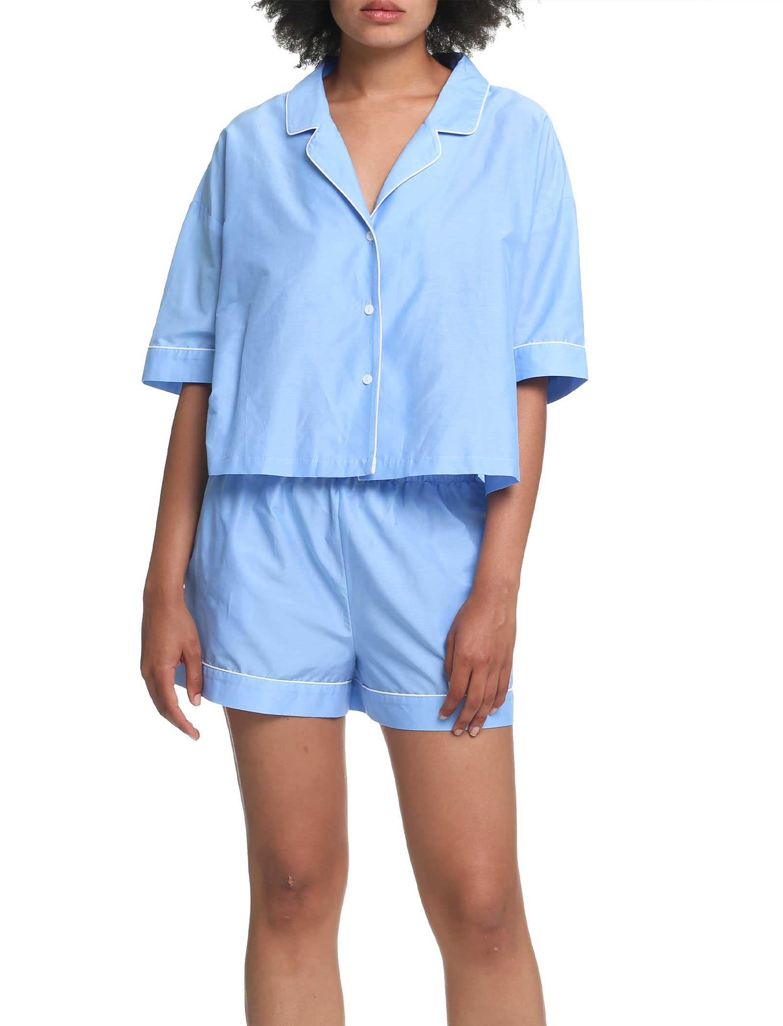 Mia Boxer Cotton Silk Pajamas Blue