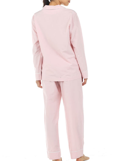 Mia Pink Cotton Silk Pajamas Back