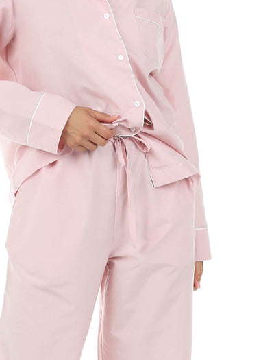 Mia Pink Cotton Silk Pajamas Close