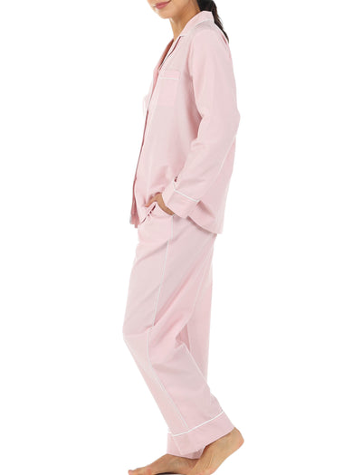 Mia Pink Cotton Silk Pajamas Side