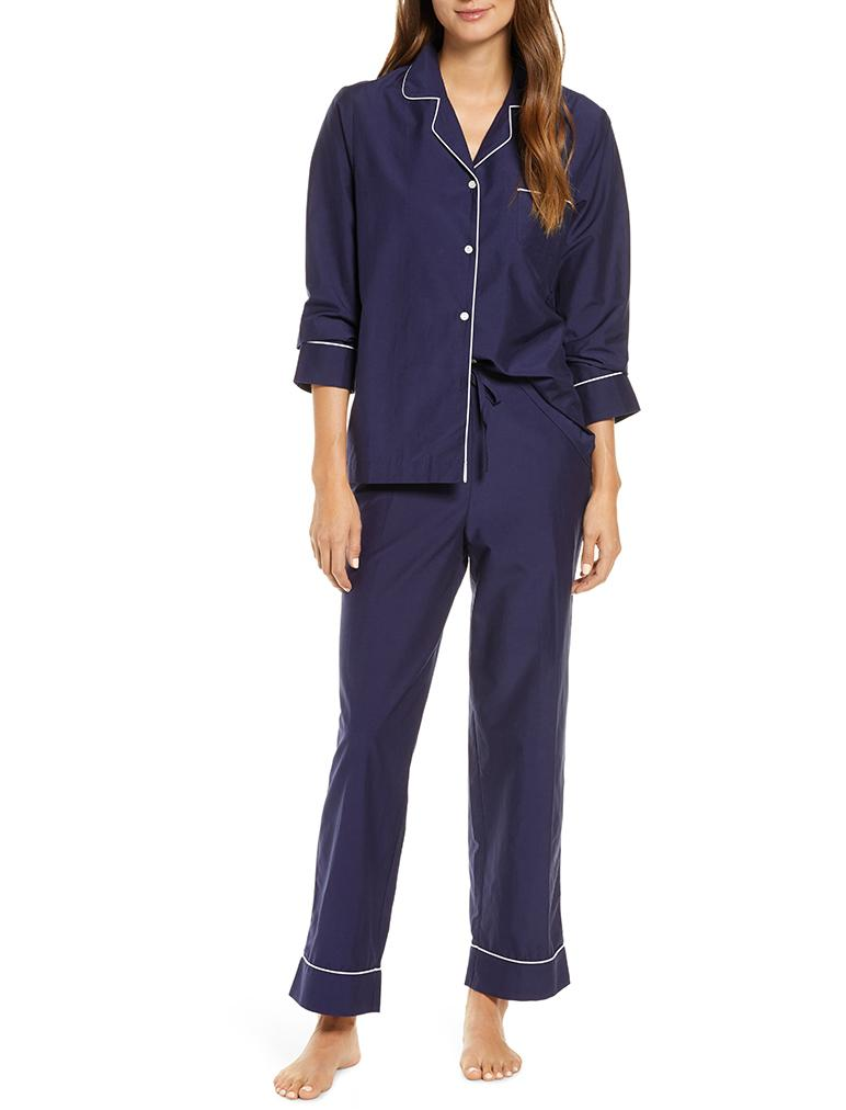 Mia Silk Cotton Pajamas Navy