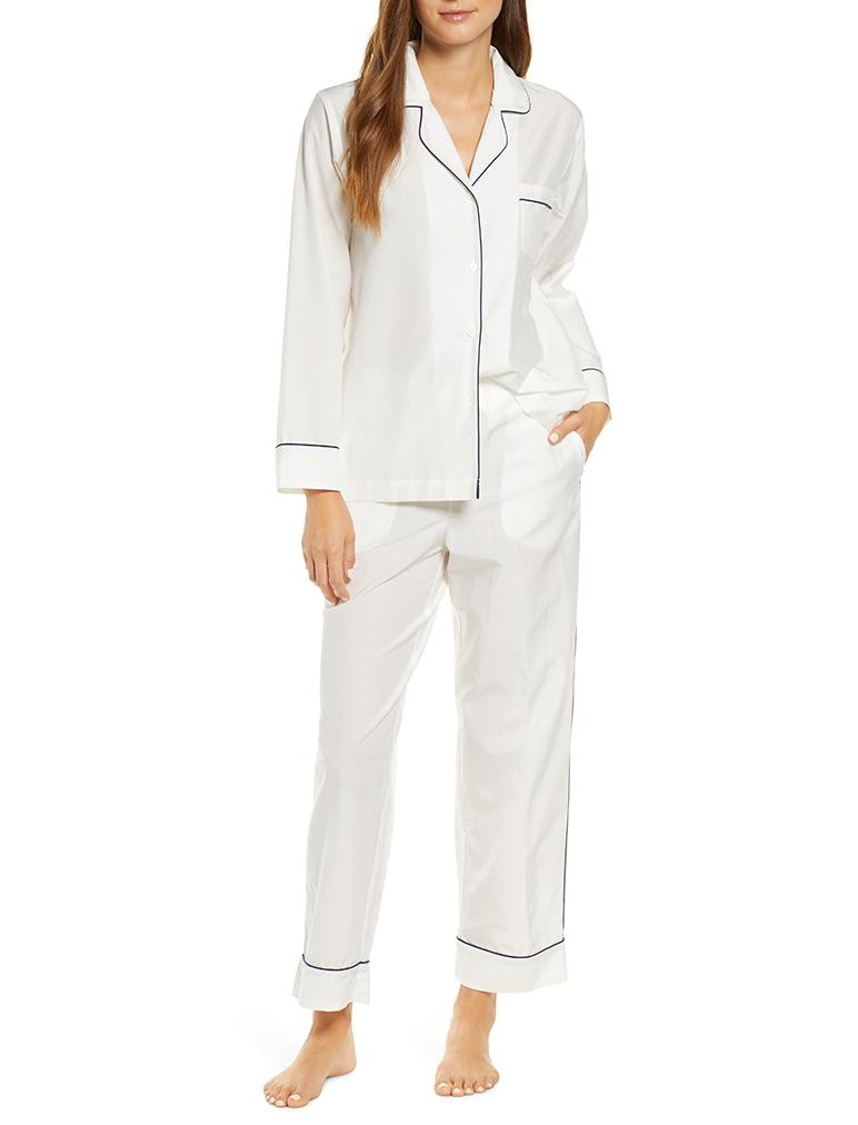 White Mia Silk Cotton Pajamas