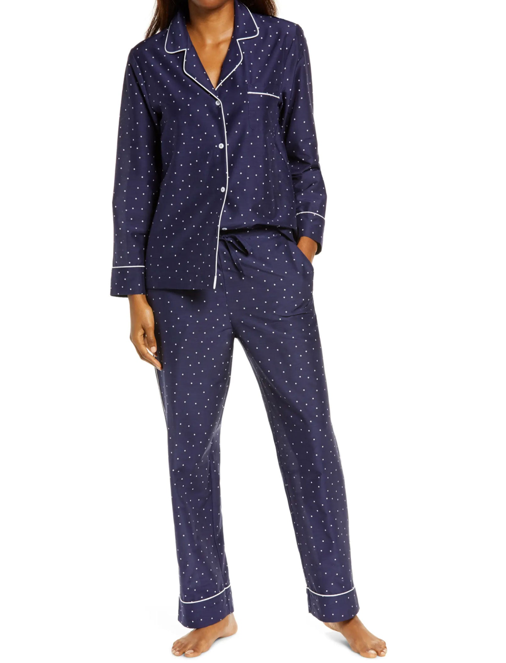 Mia Luxe Full Length Pajama in Navy Spot