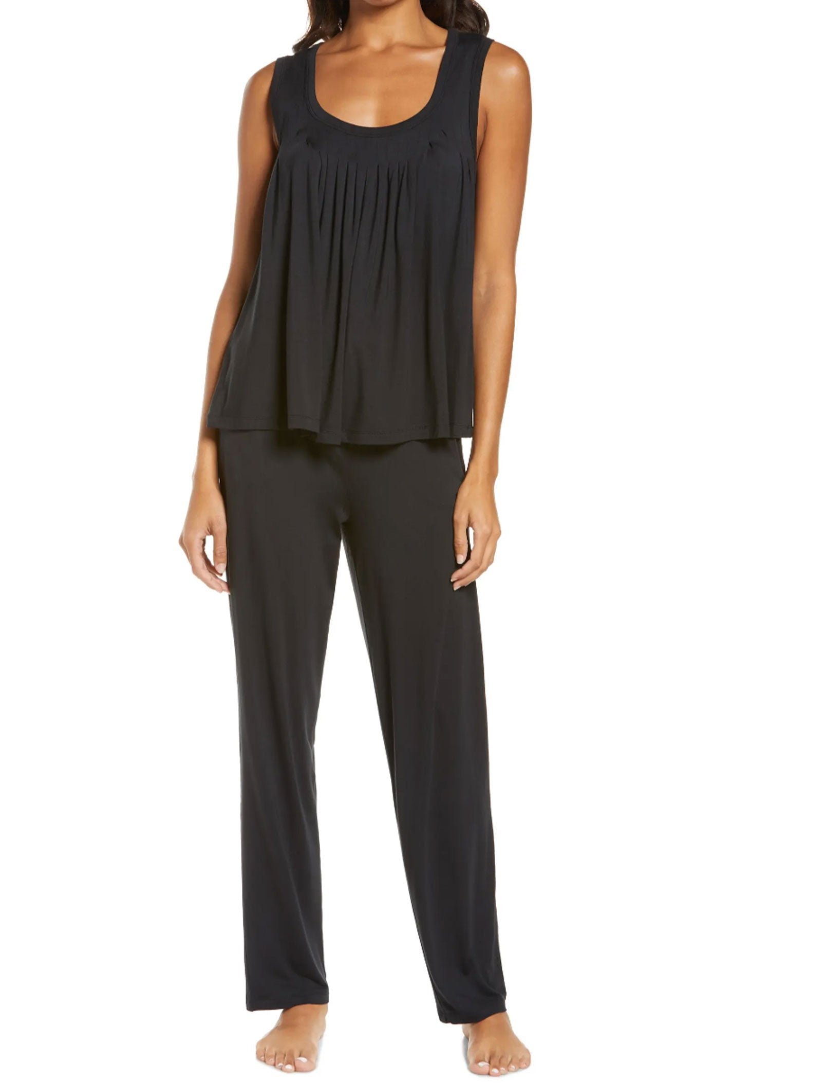 Modal Pleat Front Cami and Pant Set in Black