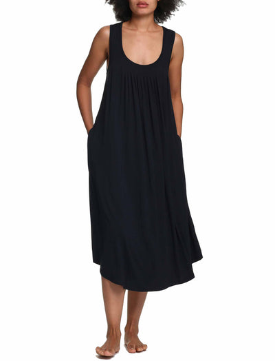 Modal Soft Pleat Front Maxi Nightie in Black
