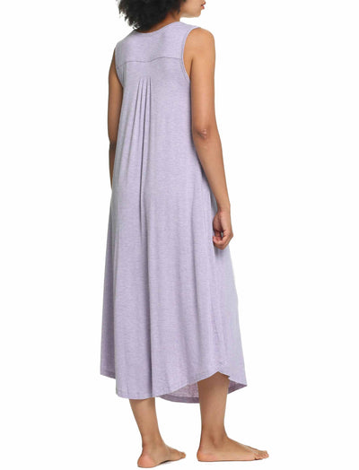 Modal Soft Pleat Front Maxi Nightgown in Lilac