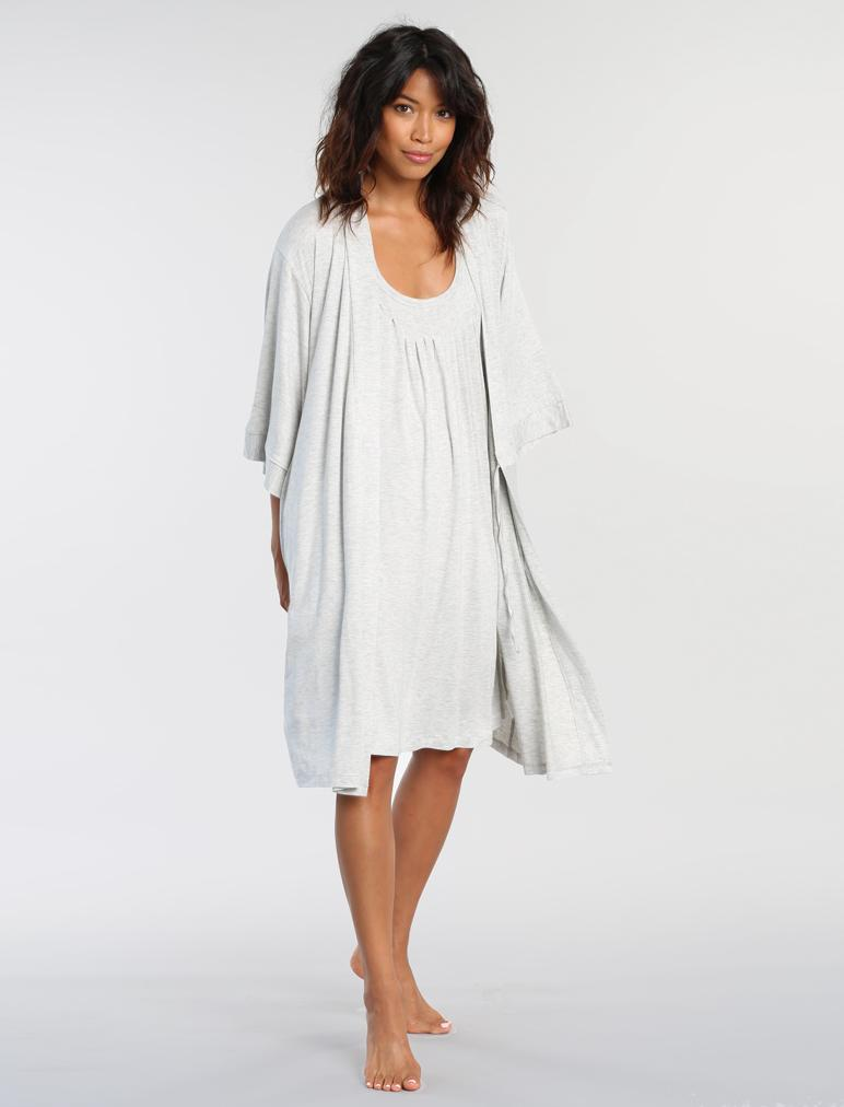 Modal Relax Soft-Touch Nightgown in Grey Marl