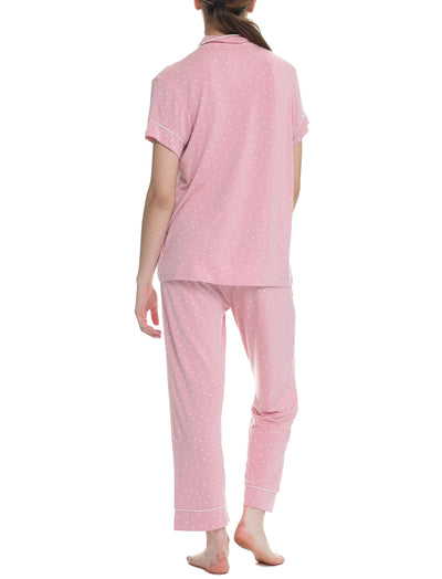 Pink Spot Modal Soft Kate Crop Pajama Set