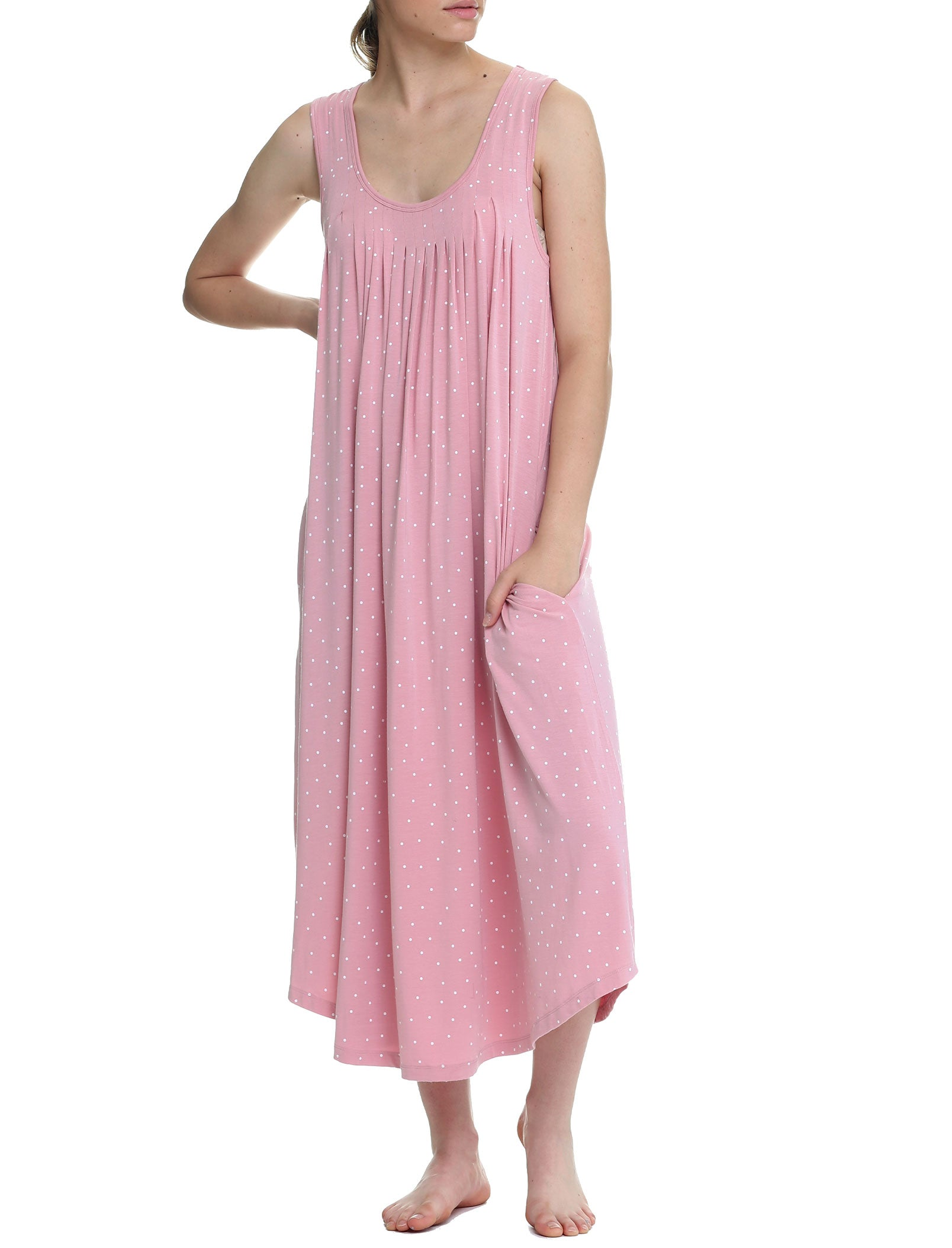 Pink Spot Modal Soft Pleat Front Maxi Nightgown